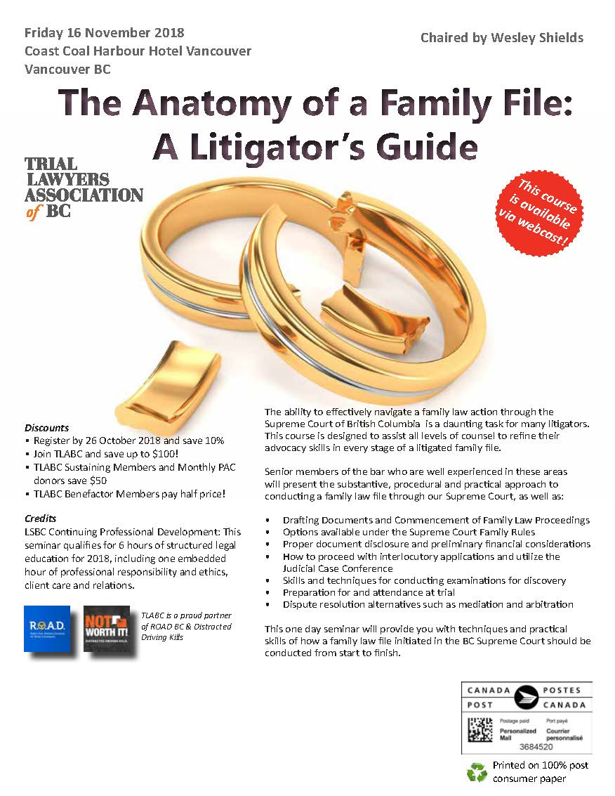 The Anatomy Of A Family File 2018 Seminar Info